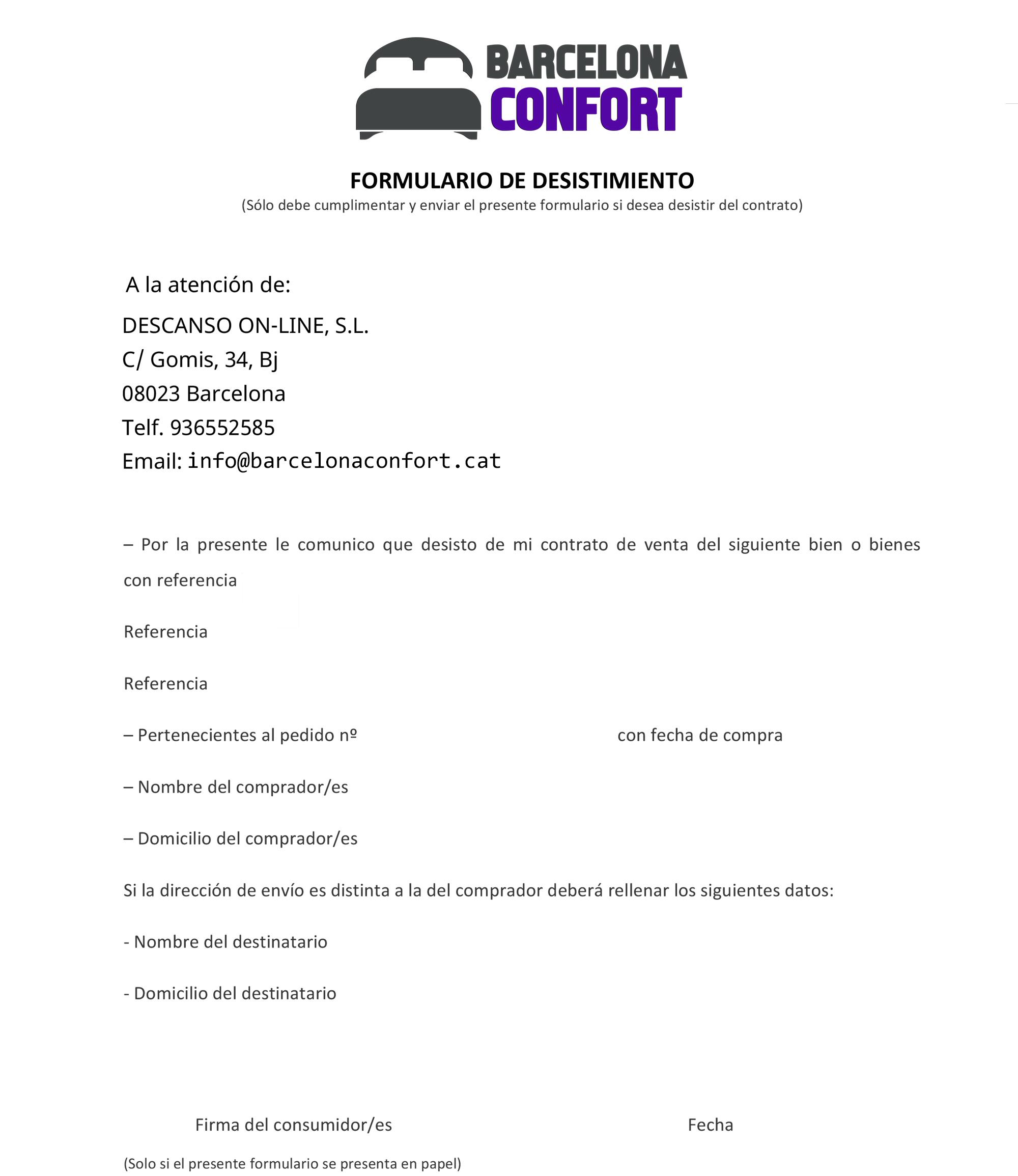 Formulario desistimiento Duérmete Online